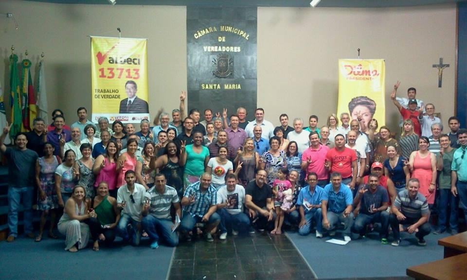 Militantes de mais de 20 municípios gaúchos marcaram presença na plenária, realizada na Câmara de Vereadores de Santa Maria