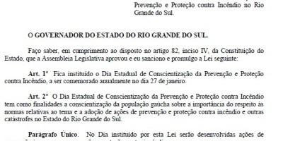 Lei foi publicada no Diário Oficial do Estado